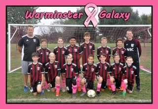 The U12 Galaxy Boys Team Supporting Breast Caner Awareness Month!